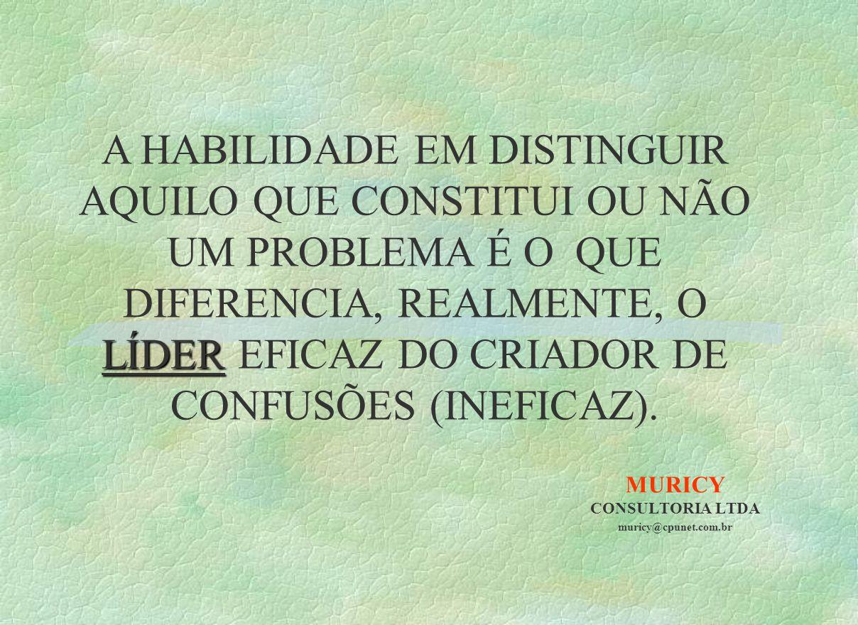 MURICY CONSULTORIA LTDA muricy@cpunet.com.br LÍDER A HABILIDADE EM DISTINGUIR AQUILO QUE CONSTITUI OU NÃO UM PROBLEMA É O QUE DIFERENCIA, REALMENTE, O