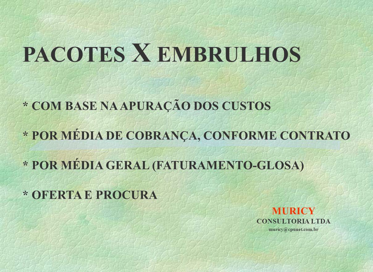 MURICY CONSULTORIA LTDA muricy@cpunet.com.br PACOTES X EMBRULHOS * COM BASE NA APURAÇÃO DOS CUSTOS * POR MÉDIA DE COBRANÇA, CONFORME CONTRATO * POR MÉ