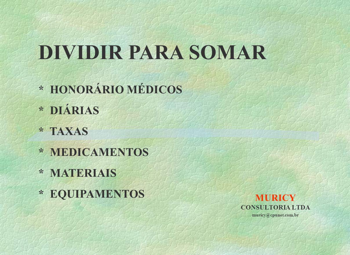 MURICY CONSULTORIA LTDA muricy@cpunet.com.br DIVIDIR PARA SOMAR * HONORÁRIO MÉDICOS * DIÁRIAS * TAXAS * MEDICAMENTOS * MATERIAIS * EQUIPAMENTOS
