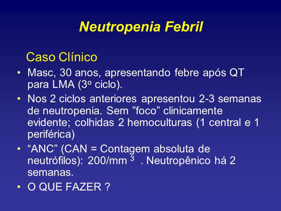 Neutropenia Febril Caso Clínico Masc, 30 anos, apresentando febre após QT para LMA (3 o ciclo).