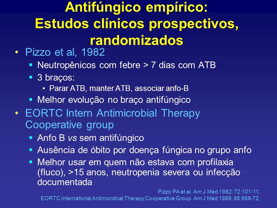 Antifúngico empírico: Estudos clínicos prospectivos, randomizados Pizzo et al, 1982  Neutropênicos com febre > 7 dias com ATB  3 braços: Parar ATB, manter ATB, associar anfo-B  Melhor evolução no braço antifúngico EORTC Intern Antimicrobial Therapy Cooperative group  Anfo B vs sem antifúngico  Ausência de óbito por doença fúngica no grupo anfo  Melhor usar em quem não estava com profilaxia (fluco), >15 anos, neutropenia severa ou infecção documentada Pizzo PA et al.
