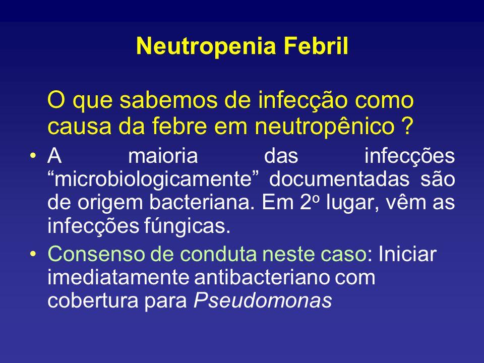 Etiologia das Infecções em Neutropênicos Picazo JJ. Int J Hematol 1998;68 (Suppl 1):S535-538.