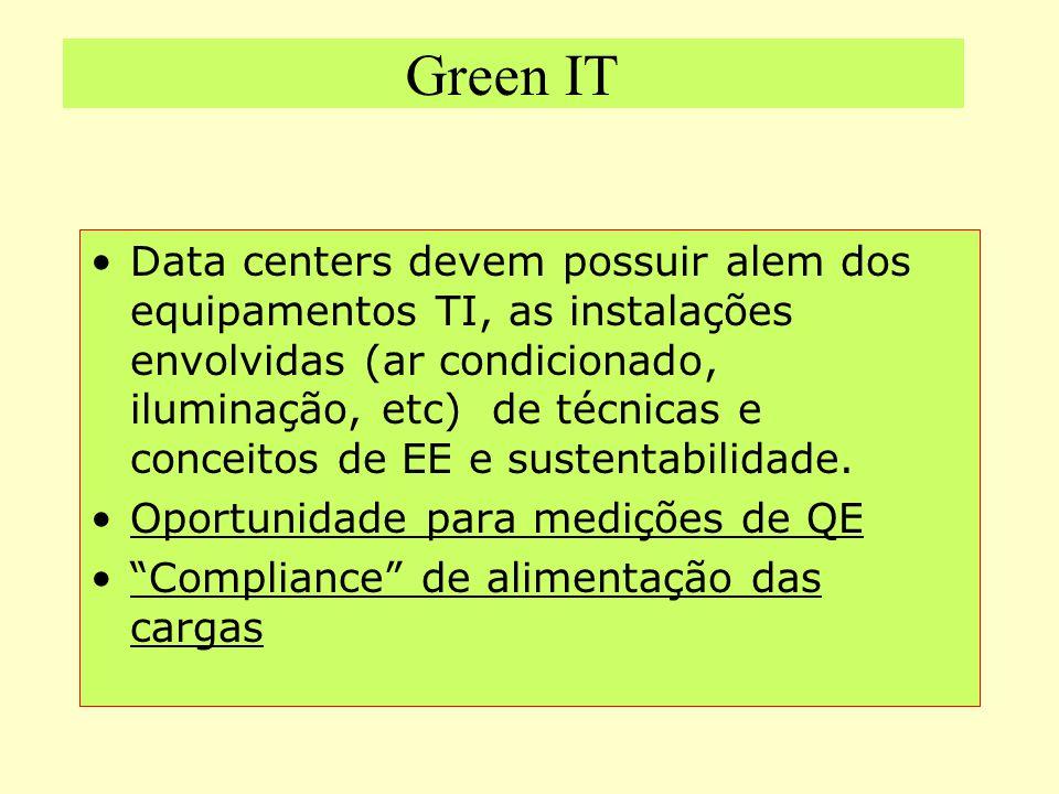 Green IT Data centers devem possuir alem dos equipamentos TI, as instalações envolvidas (ar condicionado, iluminação, etc) de técnicas e conceitos de