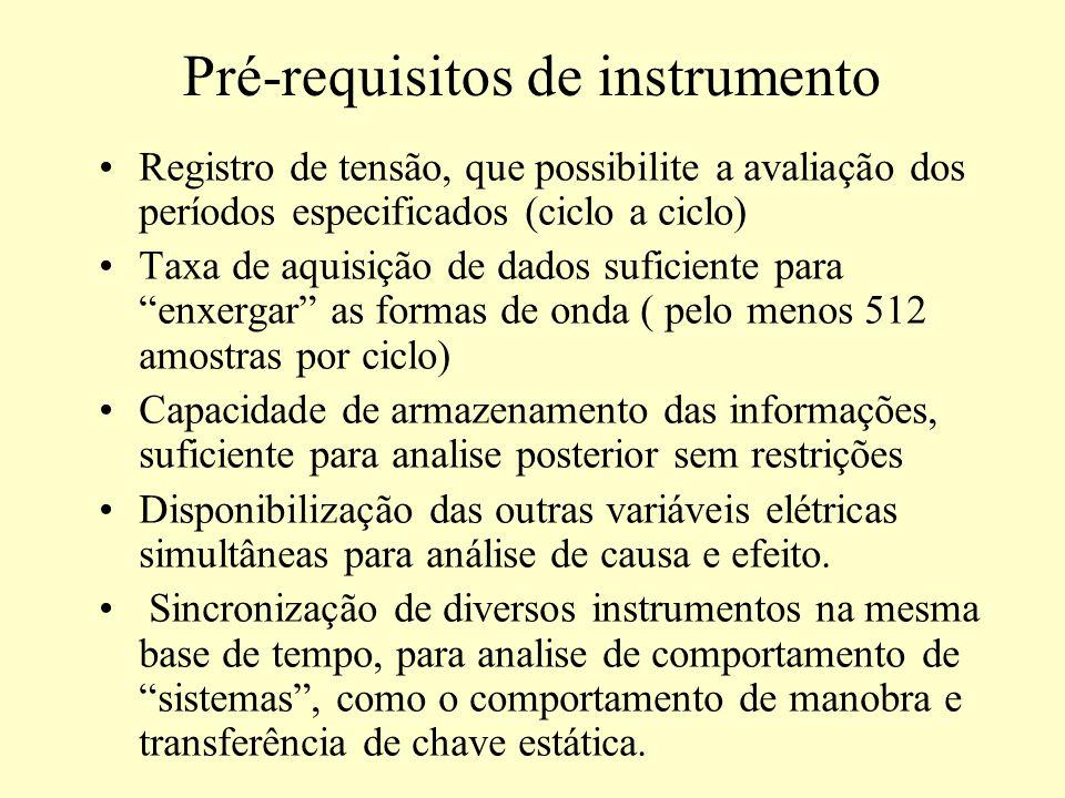 Pré-requisitos de instrumento Registro de tensão, que possibilite a avaliação dos períodos especificados (ciclo a ciclo) Taxa de aquisição de dados su