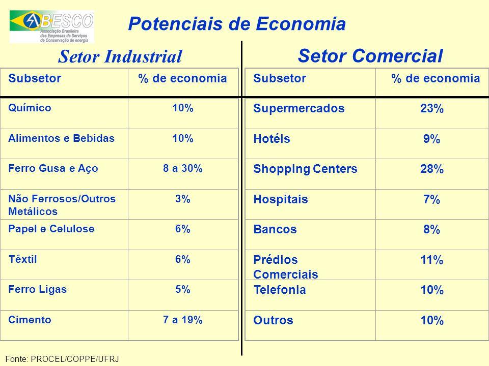 Setor Industrial Subsetor% de economia Químico10% Alimentos e Bebidas10% Ferro Gusa e Aço8 a 30% Não Ferrosos/Outros Metálicos 3% Papel e Celulose6% T