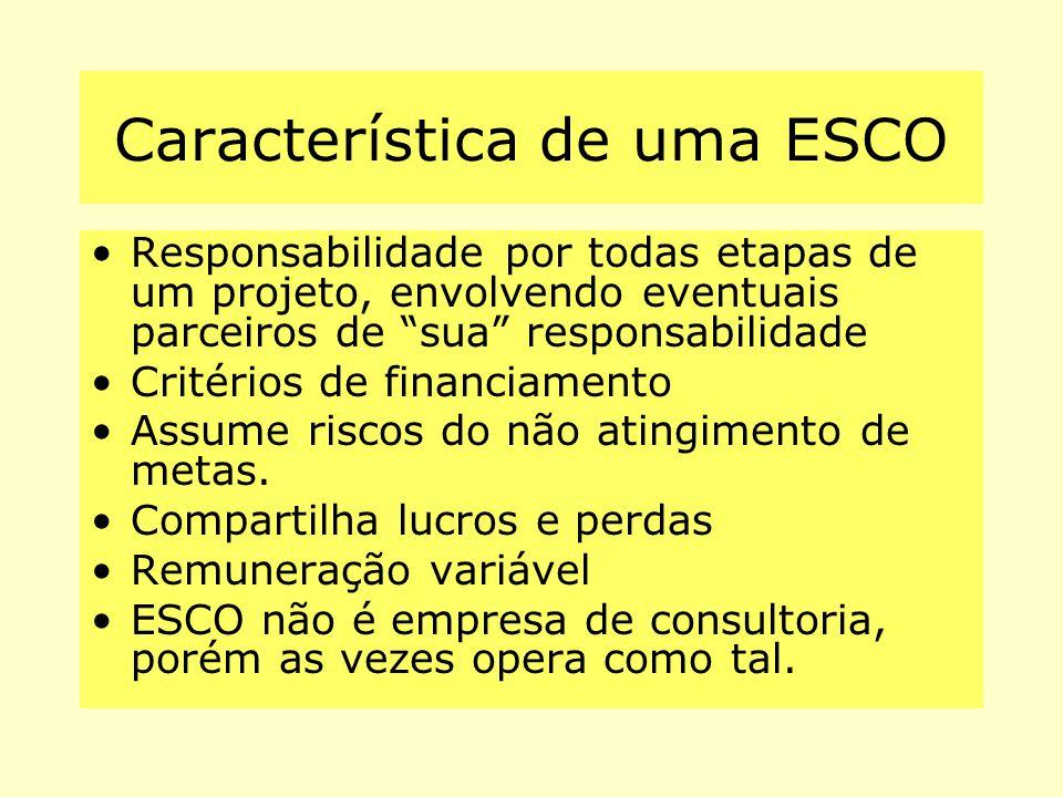 """Característica de uma ESCO Responsabilidade por todas etapas de um projeto, envolvendo eventuais parceiros de """"sua"""" responsabilidade Critérios de fina"""