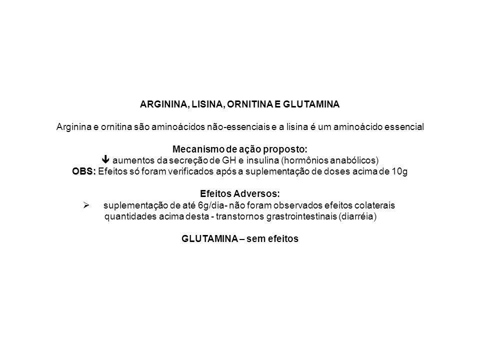 ARGININA, LISINA, ORNITINA E GLUTAMINA Arginina e ornitina são aminoácidos não-essenciais e a lisina é um aminoácido essencial Mecanismo de ação propo