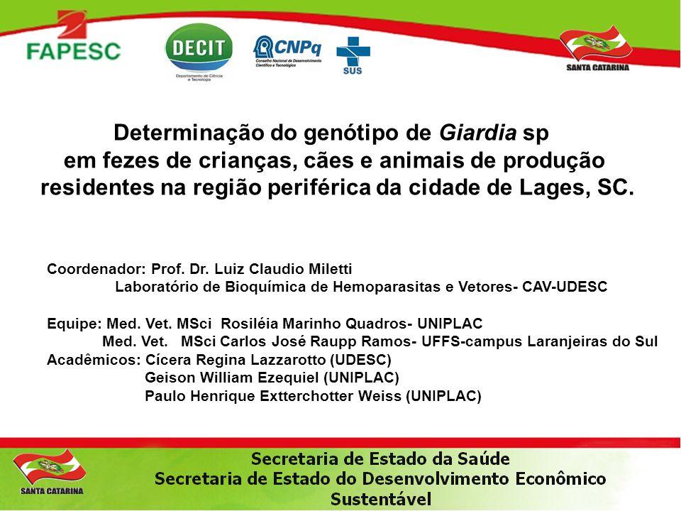 Determinação do genótipo de Giardia sp em fezes de crianças, cães e animais de produção residentes na região periférica da cidade de Lages, SC. Coorde