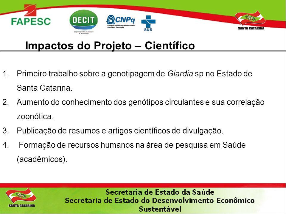 Impactos do Projeto – Científico 1.Primeiro trabalho sobre a genotipagem de Giardia sp no Estado de Santa Catarina. 2.Aumento do conhecimento dos genó