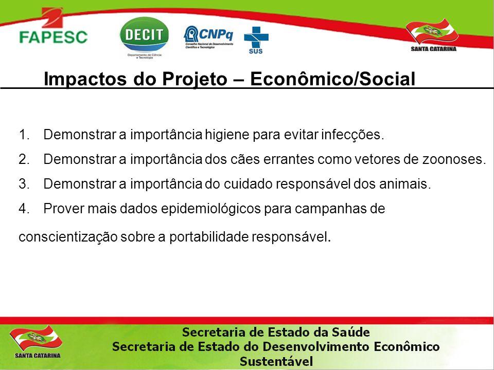 Impactos do Projeto – Econômico/Social 1.Demonstrar a importância higiene para evitar infecções. 2.Demonstrar a importância dos cães errantes como vet