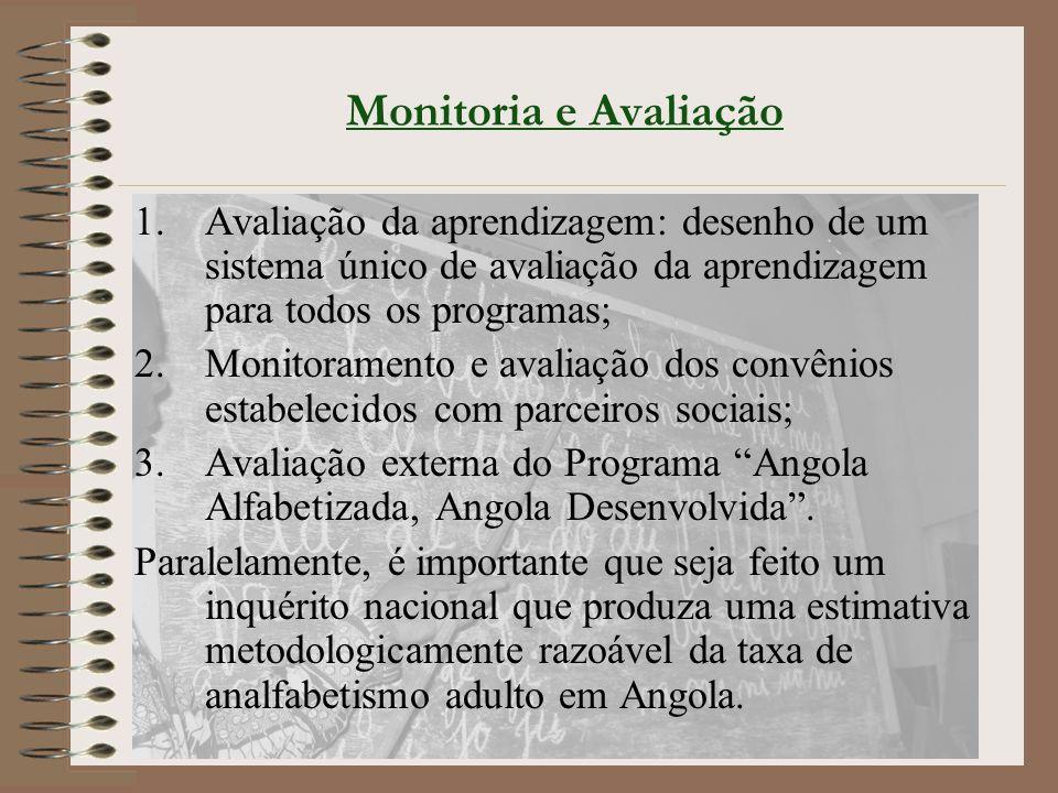 Monitoria e Avaliação 1.Avaliação da aprendizagem: desenho de um sistema único de avaliação da aprendizagem para todos os programas; 2.Monitoramento e avaliação dos convênios estabelecidos com parceiros sociais; 3.Avaliação externa do Programa Angola Alfabetizada, Angola Desenvolvida .