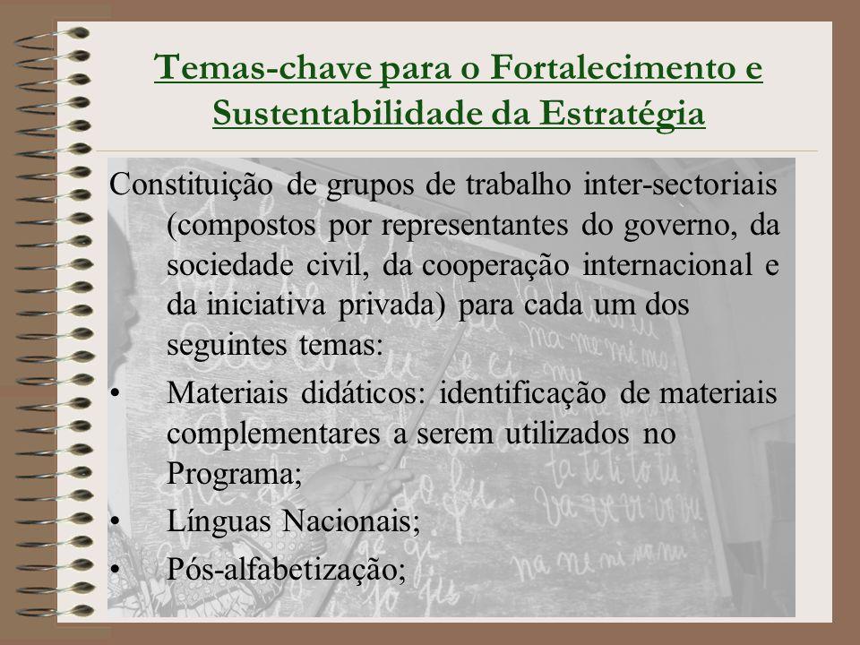 Temas-chave para o Fortalecimento e Sustentabilidade da Estratégia Constituição de grupos de trabalho inter-sectoriais (compostos por representantes d
