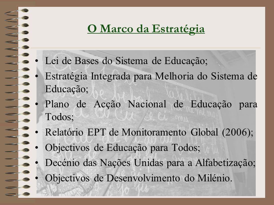 O Marco da Estratégia Lei de Bases do Sistema de Educação; Estratégia Integrada para Melhoria do Sistema de Educação; Plano de Acção Nacional de Educação para Todos; Relatório EPT de Monitoramento Global (2006); Objectivos de Educação para Todos; Decénio das Nações Unidas para a Alfabetização; Objectivos de Desenvolvimento do Milénio.
