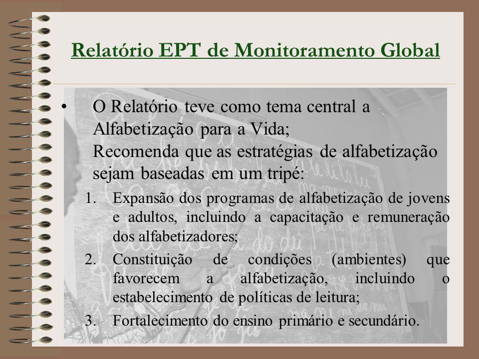 Relatório EPT de Monitoramento Global O Relatório teve como tema central a Alfabetização para a Vida; Recomenda que as estratégias de alfabetização se