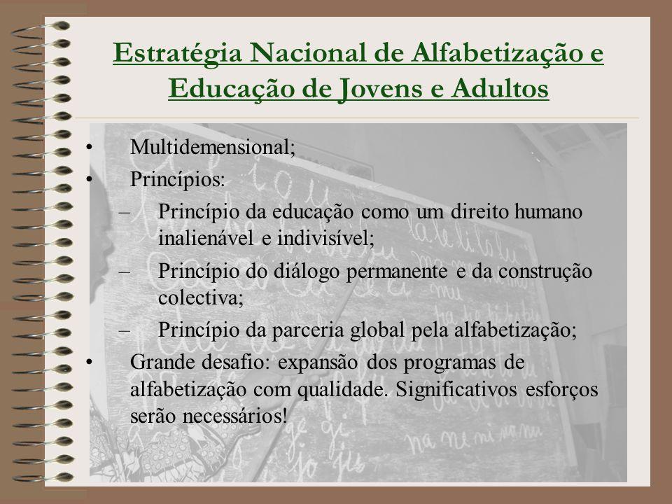Estratégia Nacional de Alfabetização e Educação de Jovens e Adultos Multidemensional; Princípios: –Princípio da educação como um direito humano inalie