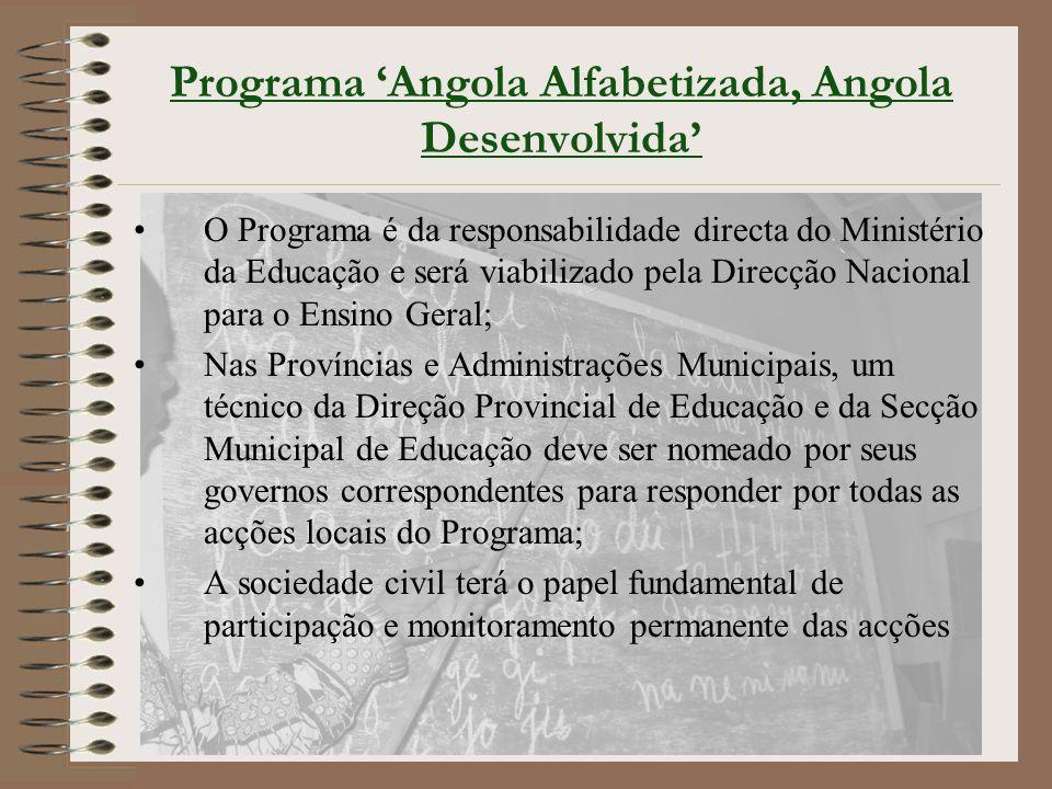 Programa 'Angola Alfabetizada, Angola Desenvolvida' O Programa é da responsabilidade directa do Ministério da Educação e será viabilizado pela Direcçã