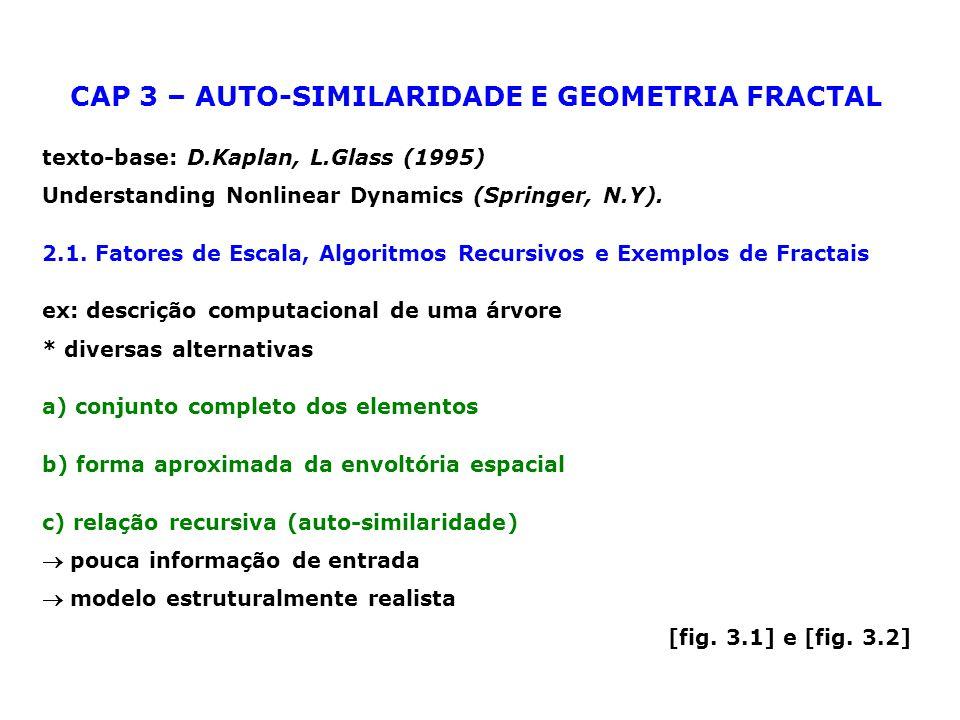 geometria auto-similar: uma parte se parece com o todo * objetos reais auto-similares: são engendrados por processos recursivos.