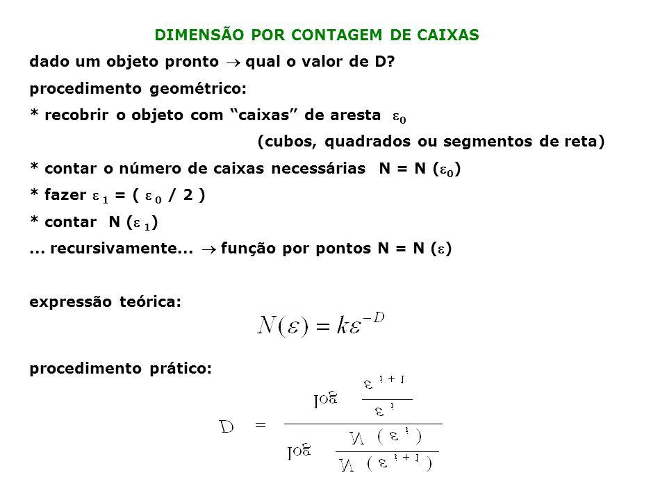 exemplo: atrator caótico de um mapa bidimensional ( mapa de Ikeda ) x i +1 = 1 + 0.7 (x i cos t i – y i sen t i ) y i +1 = 0.7 (x i sen t i + y i cos t i ) sendo t i = 0.4 – [ 6 / ( 1 + x i 2 + y i 2 )] * imagem do objeto auto-similar (para outro parâmetro): http://astronomy.swin.edu.au/~pbourke/fractals/ikeda/ * sistema real: laser numa cavidade em anel http://hedgehog.math.arizona.edu/~ura/001/huang.pojen/#Ikeda * auto-similaridade [fig.