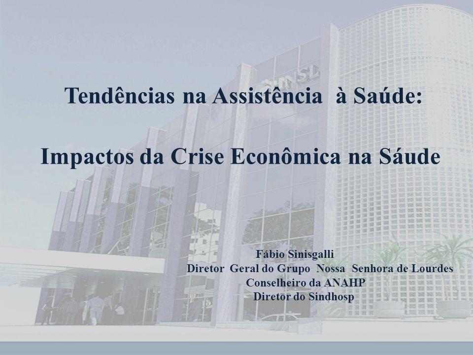 Tendências na Assistência à Saúde: Impactos da Crise Econômica na Sáude Fábio Sinisgalli Diretor Geral do Grupo Nossa Senhora de Lourdes Conselheiro da ANAHP Diretor do Sindhosp