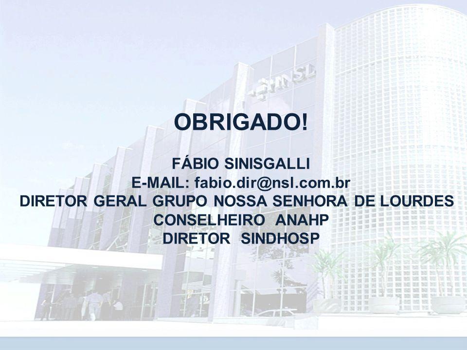 OBRIGADO! FÁBIO SINISGALLI E-MAIL: fabio.dir@nsl.com.br DIRETOR GERAL GRUPO NOSSA SENHORA DE LOURDES CONSELHEIRO ANAHP DIRETOR SINDHOSP