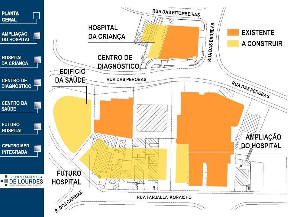 EXISTENTE A CONSTRUIR CENTRO DE DIAGNÓSTICO HOSPITAL DA CRIANÇA AMPLIAÇÃO DO HOSPITAL EDIFÍCIO DA SAÚDE FUTURO HOSPITAL RUA DAS PEROBAS RUA DAS BICUIB