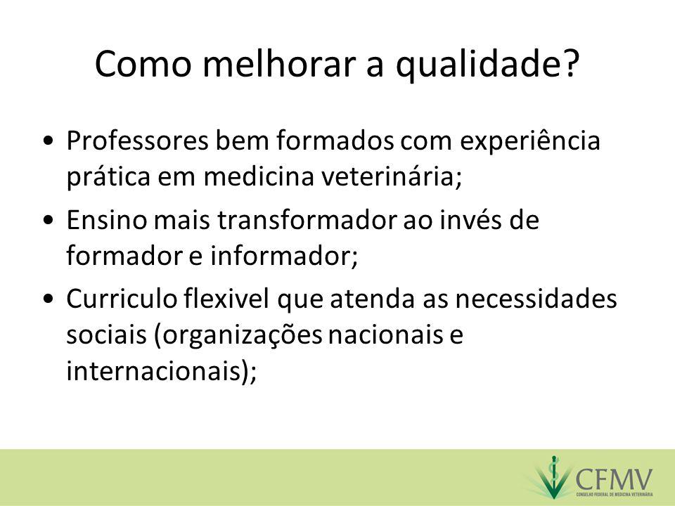Como melhorar a qualidade? Professores bem formados com experiência prática em medicina veterinária; Ensino mais transformador ao invés de formador e