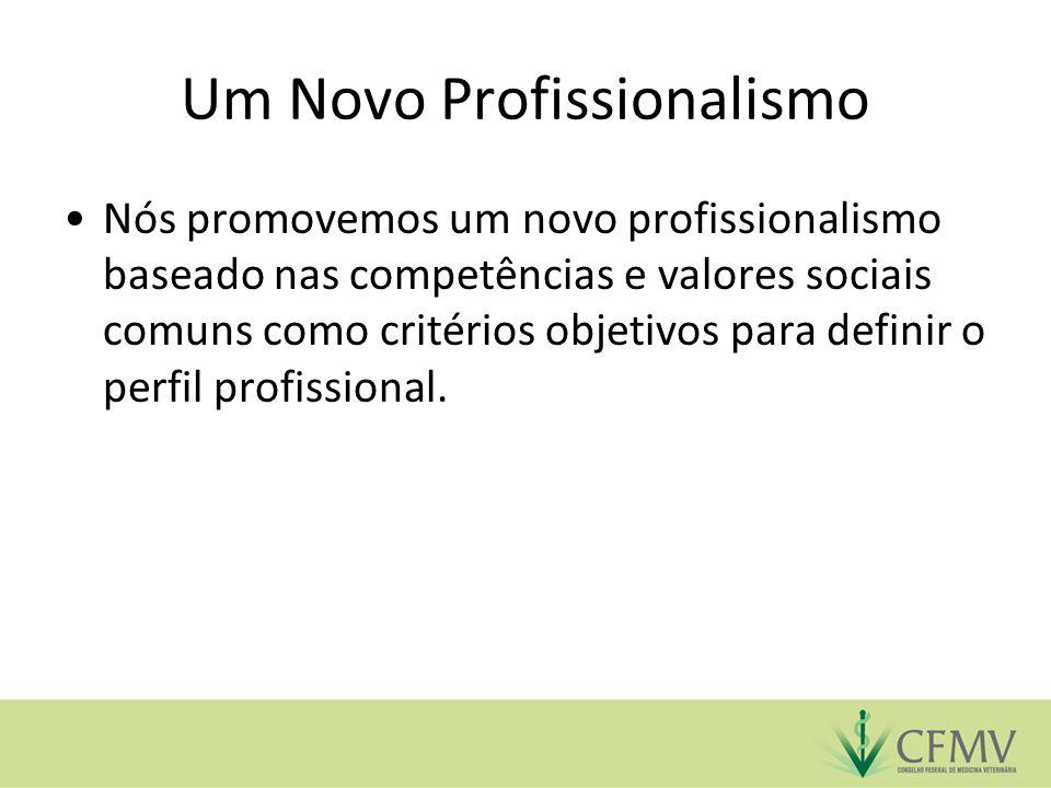 Um Novo Profissionalismo Nós promovemos um novo profissionalismo baseado nas competências e valores sociais comuns como critérios objetivos para defin