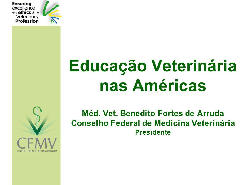 Educação Veterinária nas Américas Méd. Vet. Benedito Fortes de Arruda Conselho Federal de Medicina Veterinária Presidente