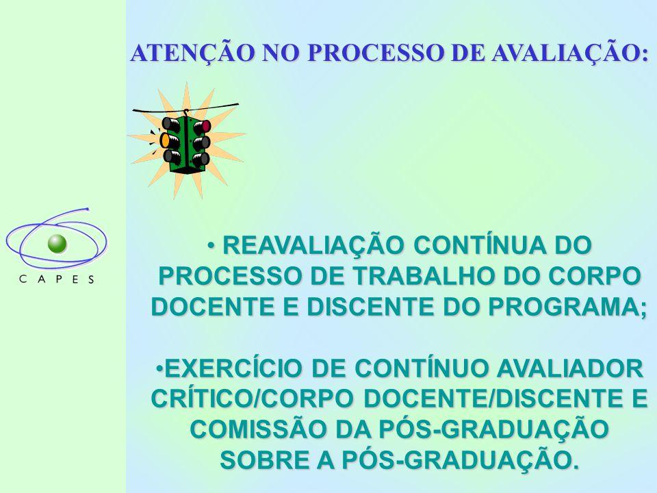 ATENÇÃO NO PROCESSO DE AVALIAÇÃO: REAVALIAÇÃO CONTÍNUA DO PROCESSO DE TRABALHO DO CORPO DOCENTE E DISCENTE DO PROGRAMA; REAVALIAÇÃO CONTÍNUA DO PROCESSO DE TRABALHO DO CORPO DOCENTE E DISCENTE DO PROGRAMA; EXERCÍCIO DE CONTÍNUO AVALIADOR CRÍTICO/CORPO DOCENTE/DISCENTE E COMISSÃO DA PÓS-GRADUAÇÃO SOBRE A PÓS-GRADUAÇÃO.EXERCÍCIO DE CONTÍNUO AVALIADOR CRÍTICO/CORPO DOCENTE/DISCENTE E COMISSÃO DA PÓS-GRADUAÇÃO SOBRE A PÓS-GRADUAÇÃO.
