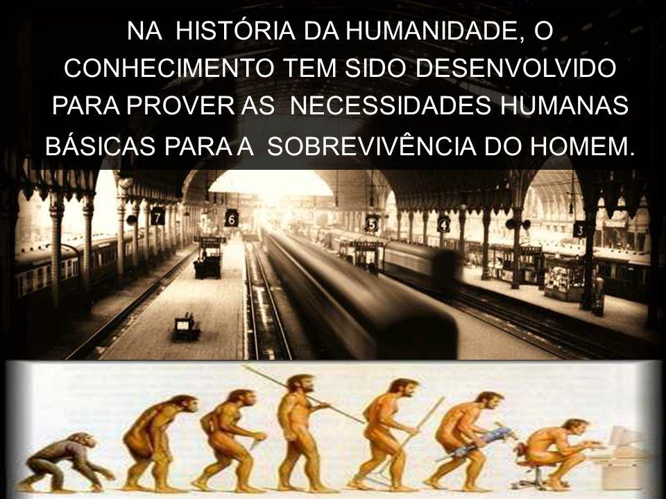 NA HISTÓRIA DA HUMANIDADE, O CONHECIMENTO TEM SIDO DESENVOLVIDO PARA PROVER AS NECESSIDADES HUMANAS BÁSICAS PARA A SOBREVIVÊNCIA DO HOMEM.