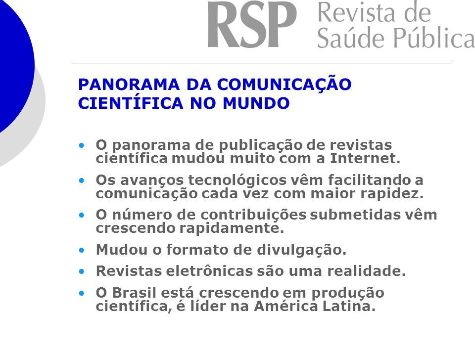 PANORAMA DA COMUNICAÇÃO CIENTÍFICA NO MUNDO O panorama de publicação de revistas científica mudou muito com a Internet.