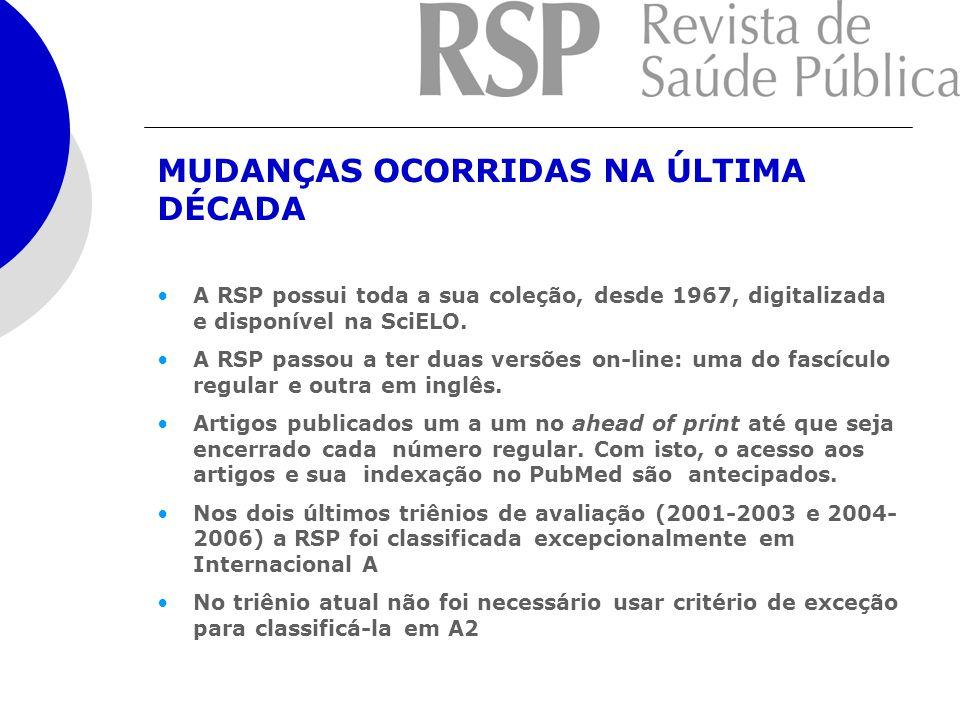 A RSP possui toda a sua coleção, desde 1967, digitalizada e disponível na SciELO. A RSP passou a ter duas versões on-line: uma do fascículo regular e