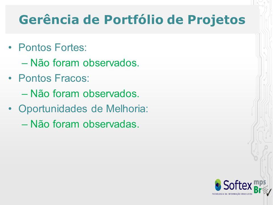 Gerência de Portfólio de Projetos Pontos Fortes: –Não foram observados.