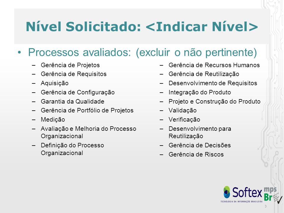 Nível Solicitado: Atributos de Processos avaliados: –AP 1.1: O processo é executado –AP 2.1: O processo é gerenciado –AP 2.2: Os produtos de trabalho do processo são gerenciados –AP 3.1: O processo é definido –AP 3.2: O processo está implementado –AP 4.1: O processo é medido –AP 4.2: O processo é controlado –AP 5.1: O processo é objeto de melhorias incrementais e inovações –AP 5.2: O processo é otimizado continuamente
