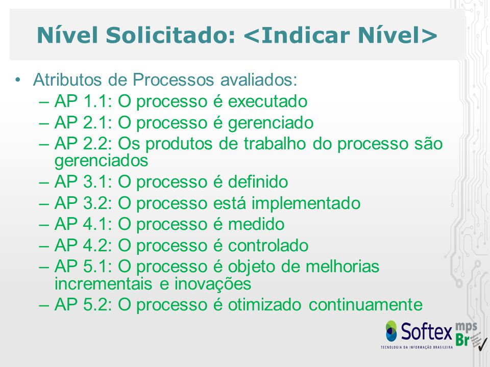 Nível Solicitado: Atributos de Processos avaliados: –AP 1.1: O processo é executado –AP 2.1: O processo é gerenciado –AP 2.2: Os produtos de trabalho