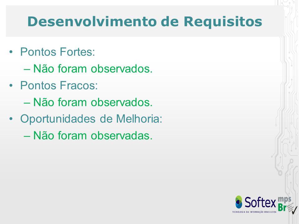Desenvolvimento de Requisitos Pontos Fortes: –Não foram observados.