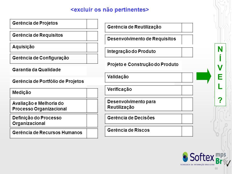 66 Gerência de Projetos Gerência de Requisitos Gerência de Configuração Medição Aquisição Gerência de Recursos Humanos Definição do Processo Organizacional Avaliação e Melhoria do Processo Organizacional Gerência de Reutilização Desenvolvimento para Reutilização Integração do Produto Verificação Validação Gerência de Riscos Gerência de Decisões Desenvolvimento de Requisitos Projeto e Construção do Produto Garantia da Qualidade Gerência de Portfólio de Projetos NÍVEL NÍVEL