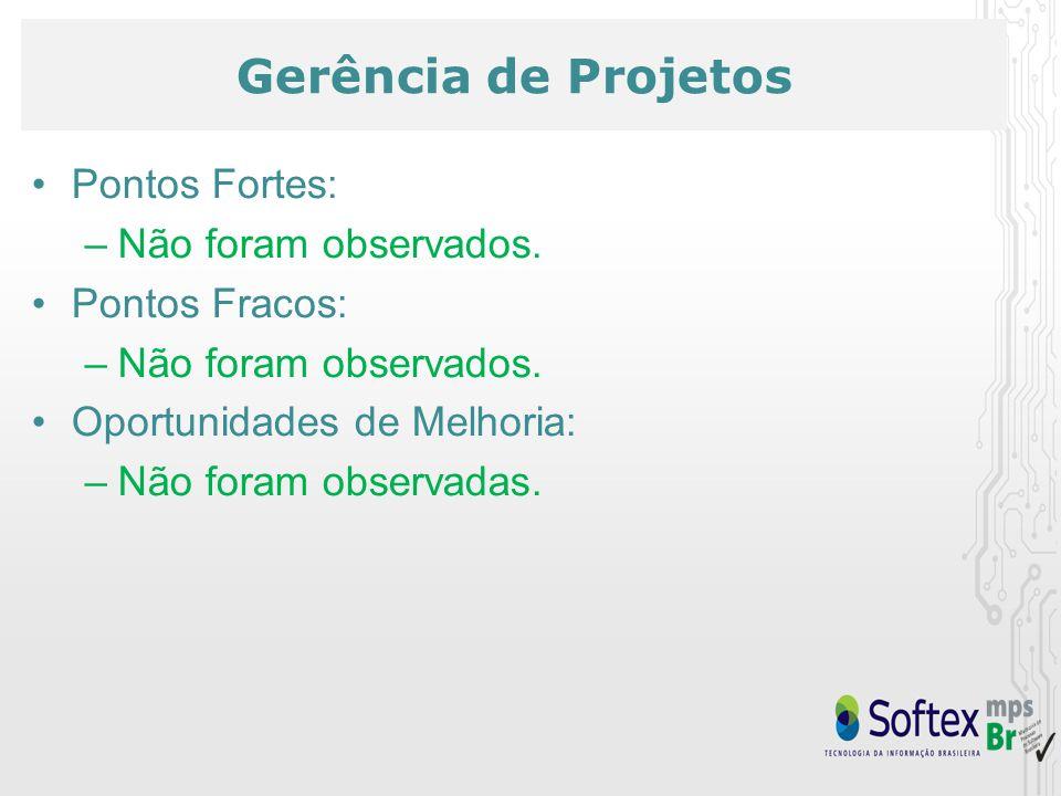 Gerência de Projetos Pontos Fortes: –Não foram observados.