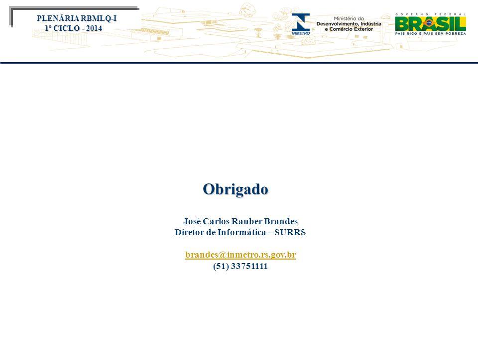 Título do evento Obrigado José Carlos Rauber Brandes Diretor de Informática – SURRS brandes@inmetro.rs.gov.br (51) 33751111 PLENÁRIA RBMLQ-I PLENÁRIA RBMLQ-I 1º CICLO - 2014