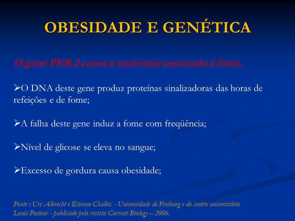 OBESIDADE E GENÉTICA O gene PER 2 causa o mal-estar associado à fome.  O DNA deste gene produz proteínas sinalizadoras das horas de refeições e de fo
