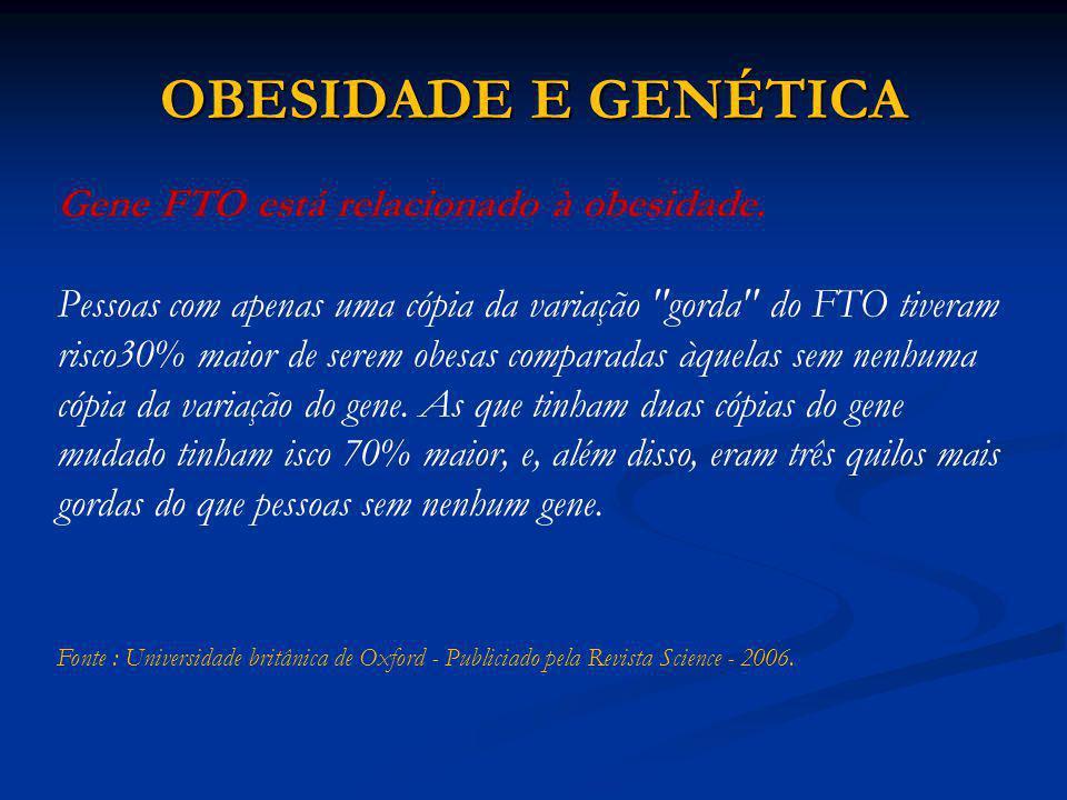 OBESIDADE E GENÉTICA Gene FTO está relacionado à obesidade. Pessoas com apenas uma cópia da variação