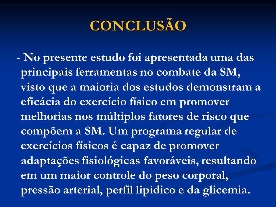 CONCLUSÃO - - No presente estudo foi apresentada uma das principais ferramentas no combate da SM, visto que a maioria dos estudos demonstram a eficáci