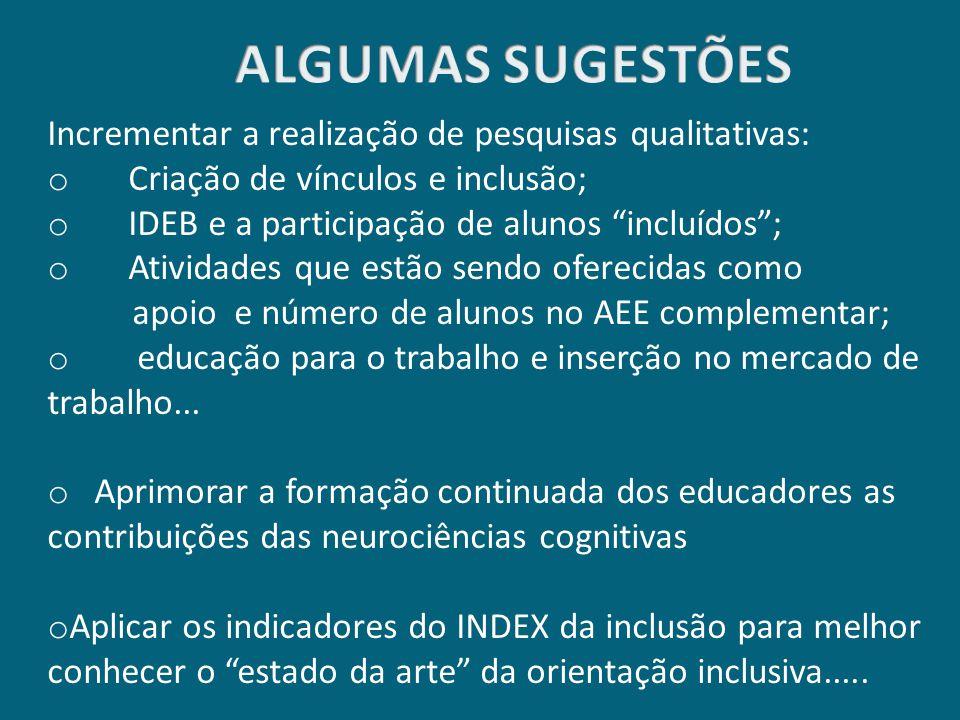"""Incrementar a realização de pesquisas qualitativas: o Criação de vínculos e inclusão; o IDEB e a participação de alunos """"incluídos""""; o Atividades que"""