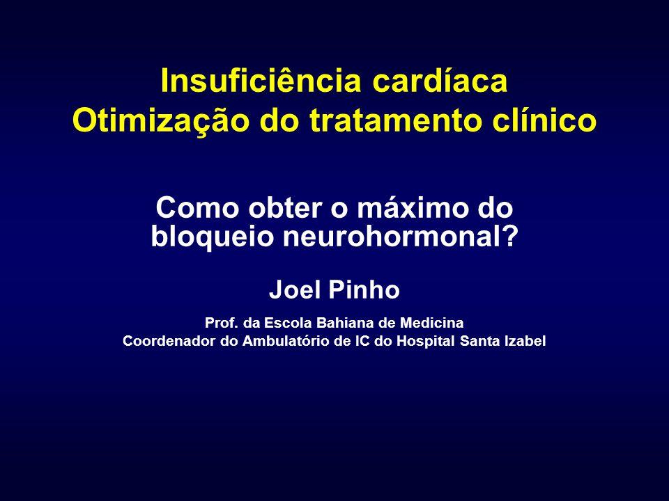 Insuficiência cardíaca Otimização do tratamento clínico Como obter o máximo do bloqueio neurohormonal? Joel Pinho Prof. da Escola Bahiana de Medicina
