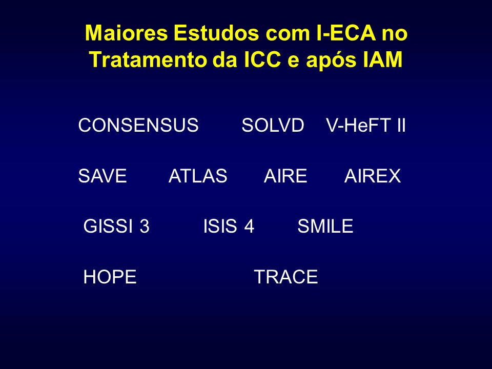 Maiores Estudos com I-ECA no Tratamento da ICC e após IAM CONSENSUS SOLVD V-HeFT II SAVE ATLAS AIRE AIREX GISSI 3 ISIS 4 SMILE HOPE TRACE