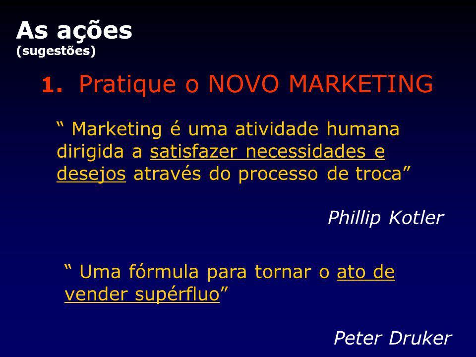 """1. Pratique o NOVO MARKETING As ações (sugestões) """" Marketing é uma atividade humana dirigida a satisfazer necessidades e desejos através do processo"""