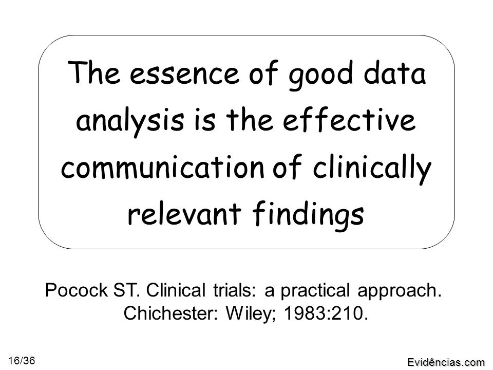 Evidências.com 16/36 The essence of good data analysis is the effective communication of clinically relevant findings Pocock ST. Clinical trials: a pr