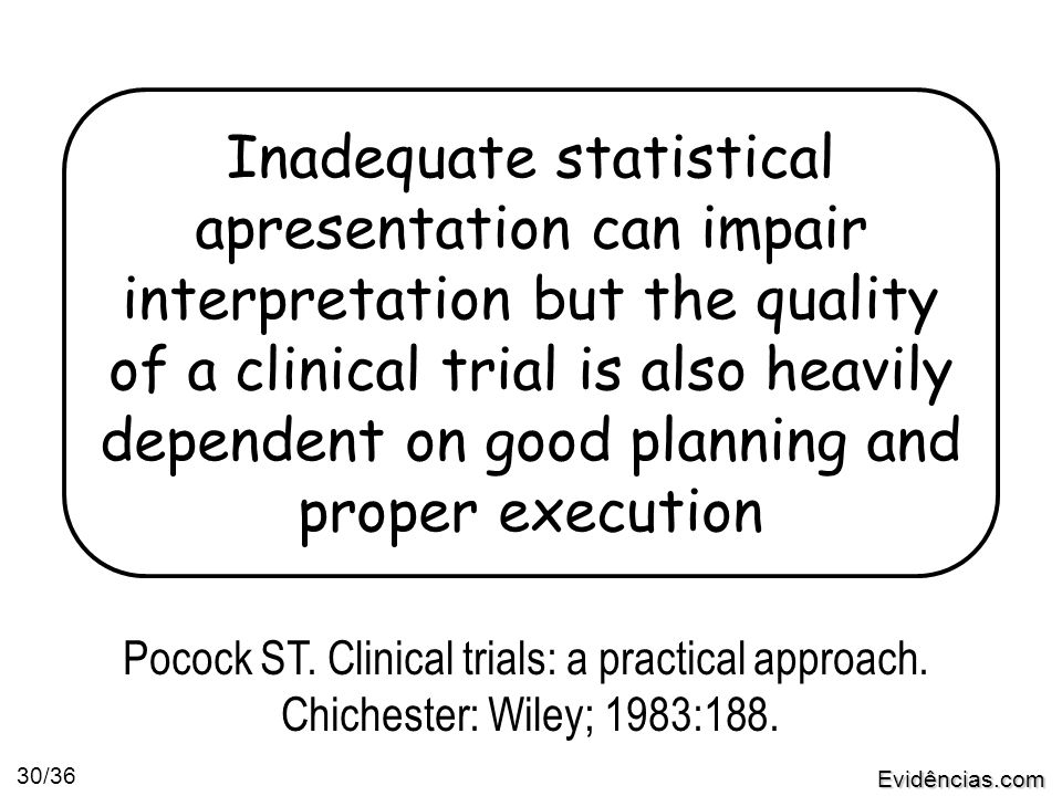 Evidências.com 30/36 Inadequate statistical apresentation can impair interpretation but the quality of a clinical trial is also heavily dependent on good planning and proper execution Pocock ST.