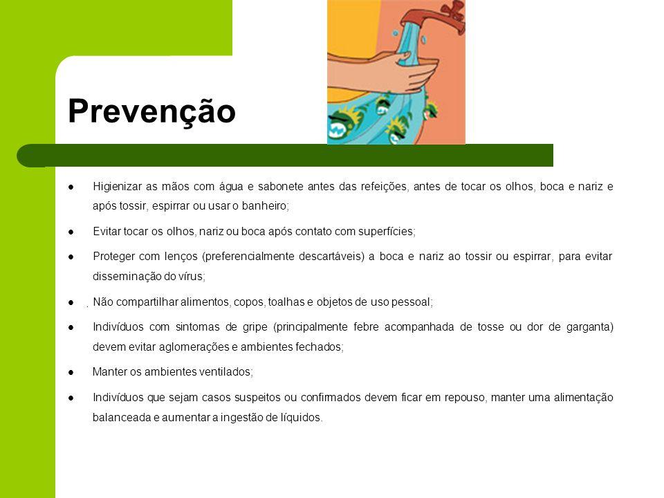 Prevenção Higienizar as mãos com água e sabonete antes das refeições, antes de tocar os olhos, boca e nariz e após tossir, espirrar ou usar o banheiro