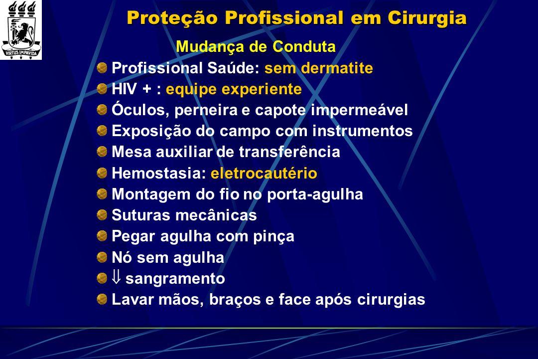 Proteção Profissional em Cirurgia Mudança de Conduta Profissional Saúde: sem dermatite HIV + : equipe experiente Óculos, perneira e capote impermeável